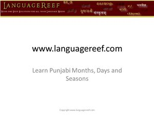 Learn punjabi months, days and seasons
