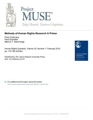 Coomans, Fons; Gr?nfeld, Fred; Kamminga, Menno: Methods of Human Rights Research: A Primer