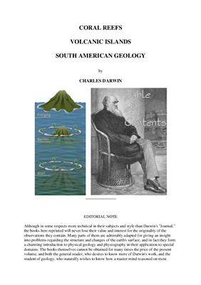 Darwin Charles. Coral Reefs. Volcanic Islands. South American Geology