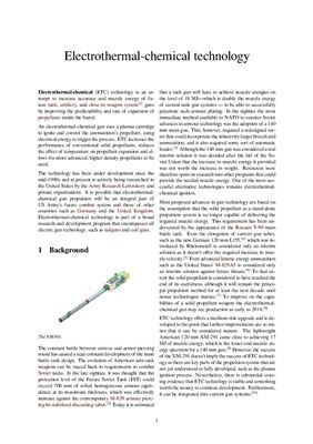 Electrothermal-chemical technology for gun