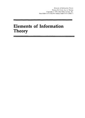 Cover T.M., Thomas J.A. Elements of Information Theory