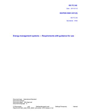 ISO/FDIS 50001 Системы (энергоменеджмента) управления энергией - Требования, рекомендации по использованию