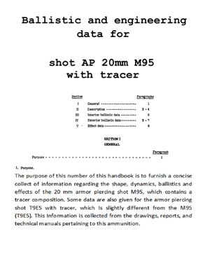 Ballistic and engineering data for shot AP 20mm M95 with tracer