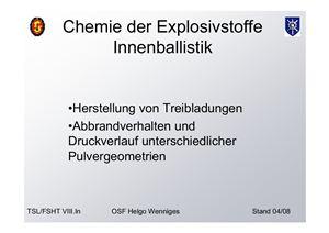 Chemie der Explosivstoffe Innenballistik