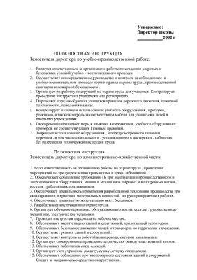 Должностная инструкция заместителя директора по учебно-производственной работе