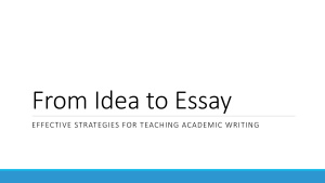 Kotnarowski John. From Idea to Essay: Effective Strategies for Teaching Academic Writing