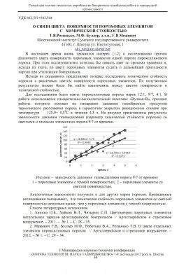 Романько Т.В., Буллер М.Ф., Межевич Г.В. О связи цвета поверхности пороховых элементов с химической стойкостью