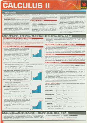 Таблица - Calculus I + II (SparkCharts). Все математические формулы