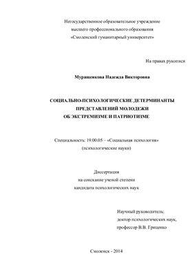 Муращенкова Н.В. Социально-психологические детерминанты представлений молодежи об экстремизме и патриотизме