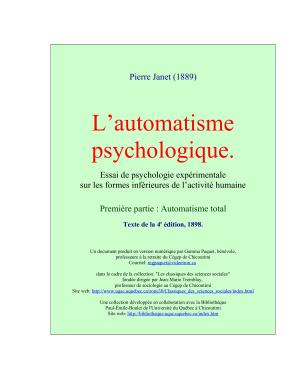 Janet P. L'automatisme psychologique. Première partie: Automatisme total