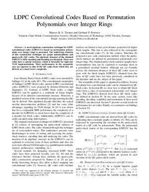 Tavares Marcos B.S., Fettweis Gerhard P. LDPC-коды основанные на перестановке