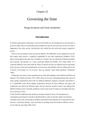 Jacobsson B., Sundström G. Governing the State