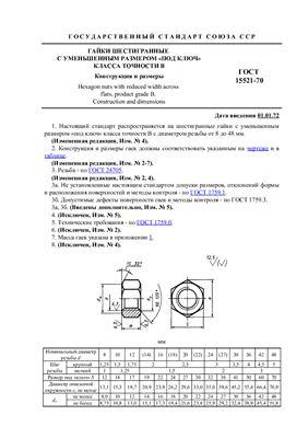 ГОСТ 15521-70 Гайки шестигранные с уменьшенным размером под ключ класса точности В