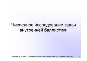 Семенов И.В., Уткин П.С. Численное исследование задач внутренней баллистики