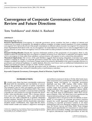 Convergence of Corporate Governance: Critical Review and Future Directions. Toru Yoshikawa, Abdul A. Rasheed