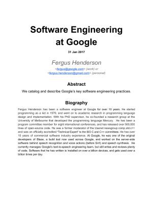 Henderson F. Software Engineering at Google