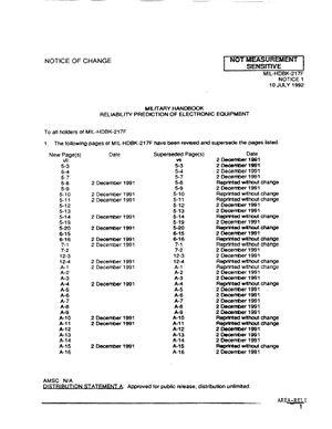 MIL-HDBK-217F notice1, 10 july, 1992. Военный справочник прогнозирования надежности электронного оборудования часть 1, 10 июля 1992 г