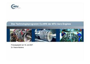 Martens R. Das Technologieprogramm CLAIRE der MTU Aero Engines