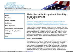 Graves Elena. Field-Portable Propellant Stability Test Equipment