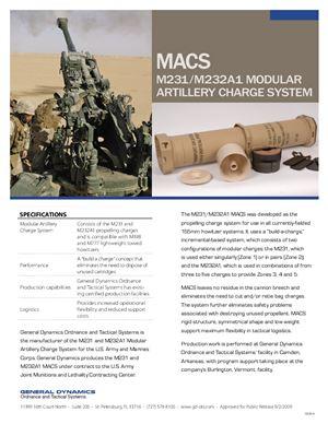 Модульный пороховой заряд - М231/М232А1 modular artillery charge system