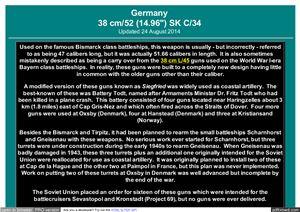Тактико-технические характеристики и таблица стрельбы артиллерийского орудия 38 cm/52 (14.96) SK C/34 (Germany)