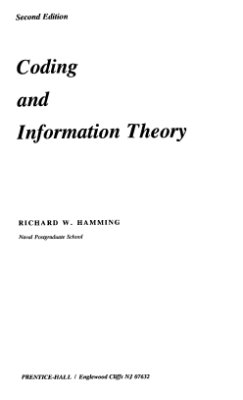 Hamming R.W. Coding and Information Theory