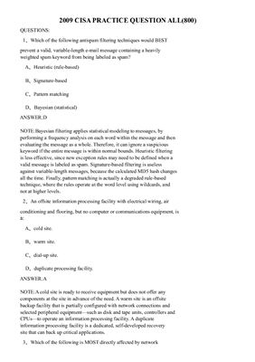 ISACA. CISA Practice Questions 2009 All