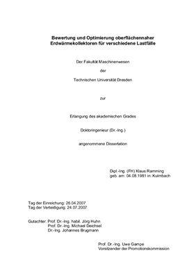 Ramming K. Bewertung und Optimierung oberflachennaher Erdwarmekollektoren fur verschiedene Lastfalle