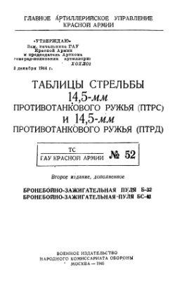 Таблицы стрельбы 14.5-мм противотанкового ружья (ПТРС) и 14.5-мм противотанкового ружья (ПТРД) (ТС ГАУ №52)