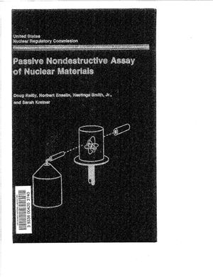 Reilly D., Ensslin N. and Smith H.Jr. Passive Nondestructive Assay of Nuclear Materials