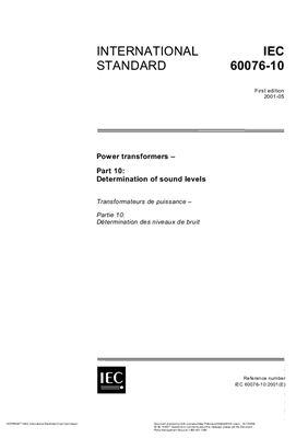 IEC 60076-10 Power transformers - Determination of sound levels