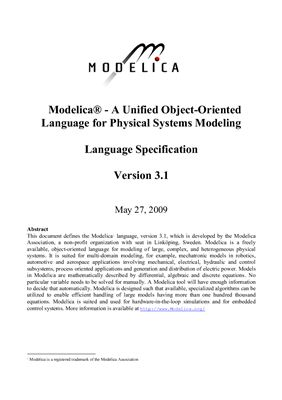 Modelica. A Unified Object-Oriented Language for Physical Systems Modeling. Language Specification
