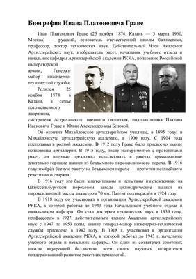 Биография Граве Ивана Платоновича