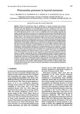 Sparks R.S.J., Huppert H.E., Kerr R.C., McKenzie D.P., & Tait S.R. Postcumulus processes in layered intrusions