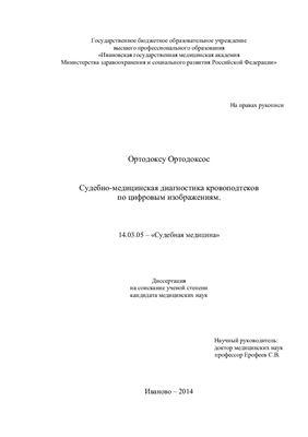 Ортодоксу Ортодоксос. Судебно-медицинская диагностика кровоподтеков по цифровым изображениям
