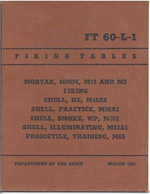 Firing tables. Mortar 60 mm M19 and M2 (FT-60-L-1)