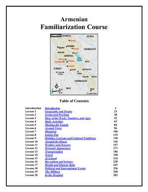 Peace Corps. Armenian Familiarization Course