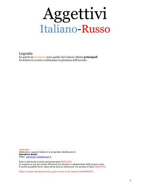 Aggettivi. Italiano-Russo (tabella). Прилагательные (таблица)