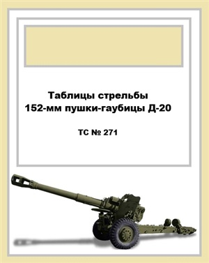 Таблицы стрельбы 152-мм пушки-гаубицы Д-20 ТС № 271