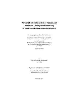 Maike Inga Woernle Anwendbarkeit k?nstlicher neuronaler Netze zur Untergrundbewertung in der oberfl?chennahen Geothermie