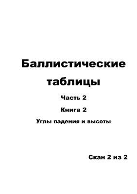 Таблицы баллистические. Часть 2. Книга 2. Углы падения и высоты. 2/2
