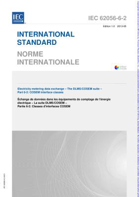 IEC 62056-6-2:2013 COSEM interface classes