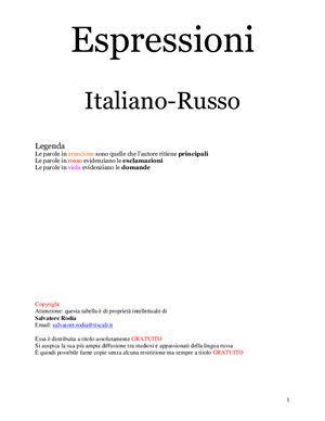 Espressioni. Italiano-Russo (tabella). Выражения (таблица)