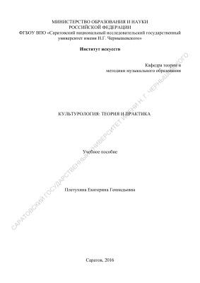 Плетухина Е.Г. Культурология: теория и практика