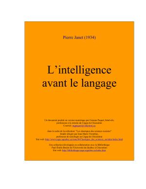 Janet Pierre. L'intelligence avant le langage