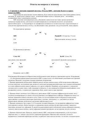 Ответы на вопросы по Физиологии ЦНС