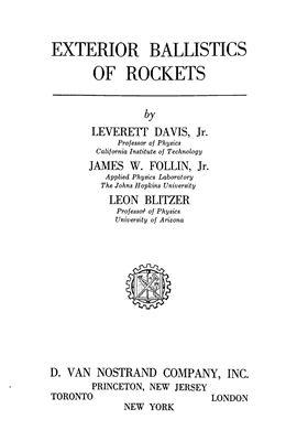 Davis L. Exterior Ballistics of Rockets