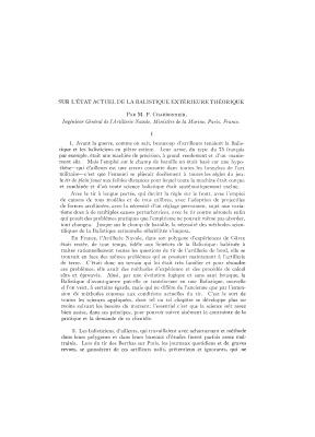 Charbonnier M.P. Sur l'état actuel de la balistique extérieure théorique