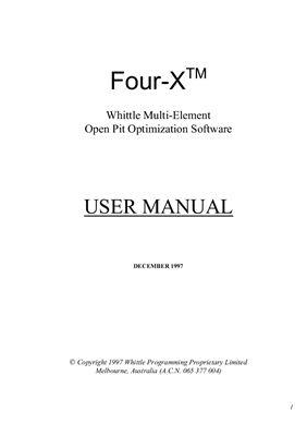Инструкция по пользованию оптимизатора карьеров Four-X Whittle (на английском)