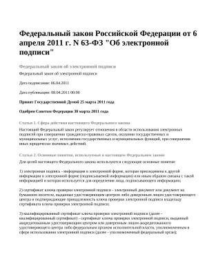 Федеральный закон Российской Федерации от 6 апреля 2011 г. N 63-ФЗ
